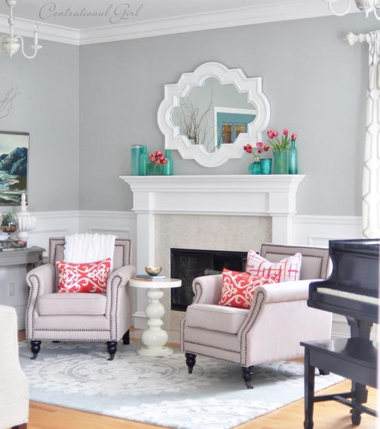 Spring Fireplace Mantel Decor.